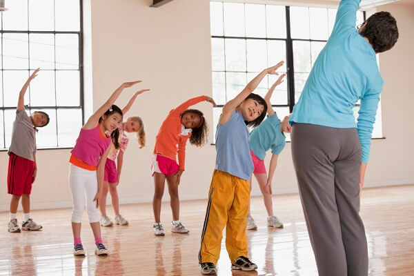 Children exercising in fitness class